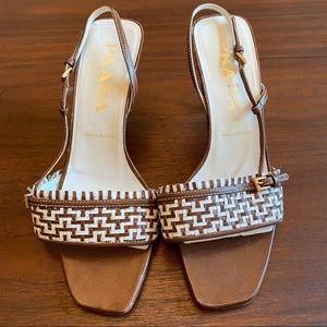 Prada Sling Back Leather Weave Heels Brown/White 5